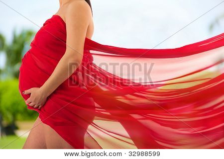 Abdomen A Young Pregnant Woman Wrapped In Cloth