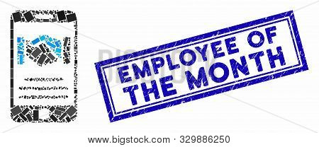 Mosaic Mobile Agreement Handshake And Corroded Stamp Seal With Employee Of The Month Text. Mosaic Ve