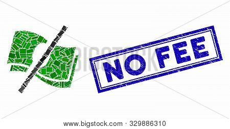 Collage No Fee And Distressed Stamp Seal With No Fee Phrase. Mosaic Vector No Fee Is Formed With Ran