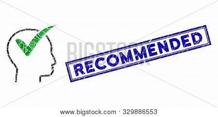 Mosaic Recommended And Grunge Stamp Watermark With Recommended Phrase. Mosaic Vector Recommended Is