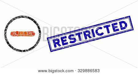 Mosaic Restricted And Rubber Stamp Seal With Restricted Phrase. Mosaic Vector Restricted Is Created
