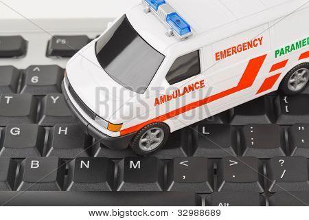 Computer-Tastatur und medizinische Auto