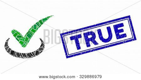 Mosaic True And Distressed Stamp Watermark With True Caption. Mosaic Vector True Is Composed With Sc