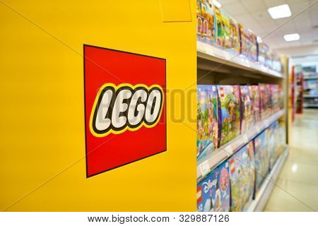 SHENZHEN, CHINA - APRIL 17, 2019: Lego sets on display at CITIC City Plaza shopping mall in Shenzhen. Lego is a line of plastic construction toys.