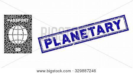 Mosaic World Passport And Grunge Stamp Seal With Planetary Caption. Mosaic Vector World Passport Is