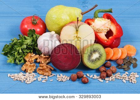 Natural Food For Kidneys Health And Gout Inflammation. Concept Of Healthy Eating As Source Natural V