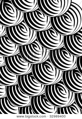 Black and white pattern in a circle.