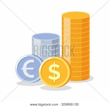 Wealth And Money Vector, Gold And Silver Coins, Euro And Dollars Deposit And Wealthy Profits, Moneta