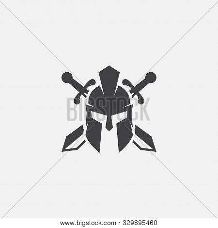 Wreath, Swords And Helmet Of The Spartan Warrior Symbol, Emblem. Spartan Helmet Logo, Vector Illustr