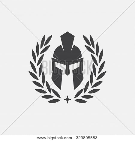 Wreath And Helmet Of The Spartan Warrior Symbol, Emblem. Spartan Helmet Logo, Illustration Of Sparta