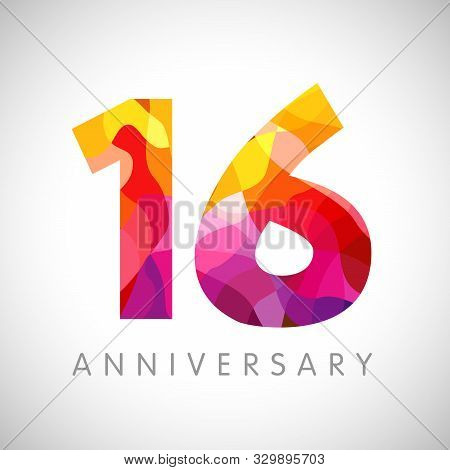 16 Th Anniversary Numbers. 16 Years Old Yellow Coloured Logotype. Age Congrats, Congratulation Idea.