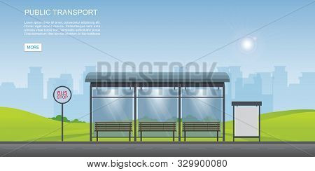 Bus Stop With City View Background And Empty Billboard. Vector Illustration In Flat Design.