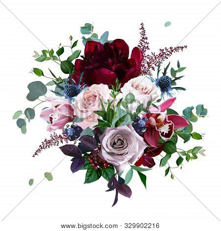 Luxury Fall Flowers Vector Bouquet. Cymbidium Orchid Flower, Dusty, Mauve Rose, Burgundy Red Peony,