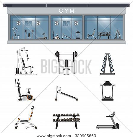 Gym Interior Icon Set With Fitness Gym Equipment Isolated On Background, Gymnasium Sport Fitness, At