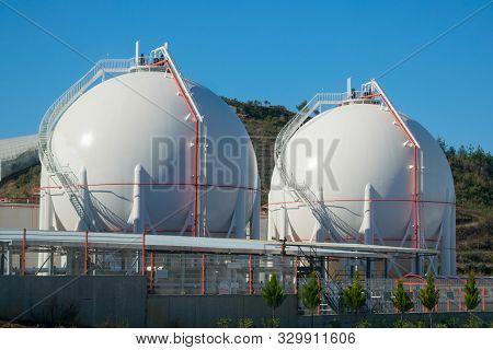 Two Liquefied Gas Storage Tanks. Lng/lpg Storage Plant.