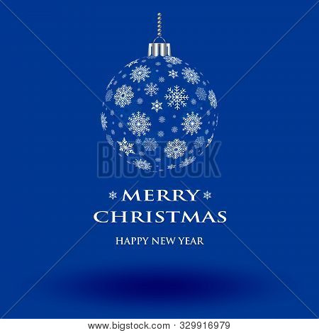 Christmas Bauble Vector With Snowflakes On Blue Background. Christmas Ornament Or Ball With Merry Ch