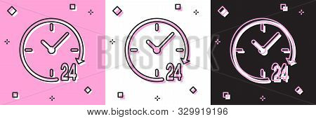 Set Clock 24 hours icon isolated on pink and white, black background. All day cyclic icon. 24 hours service symbol. Vector Illustration poster