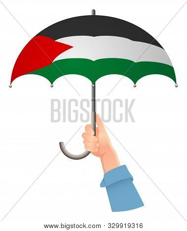 Palestine Flag. Hand Holding Umbrella. Social Security Concept. National Flag Of Palestine  Illustra