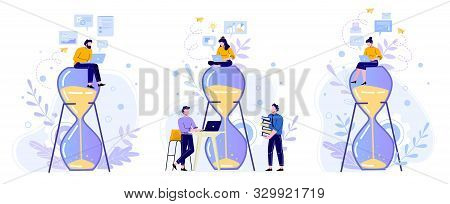 Time Management Hourglass. People Work With Laptop On Sandglass, Working Hours And Team Productivity