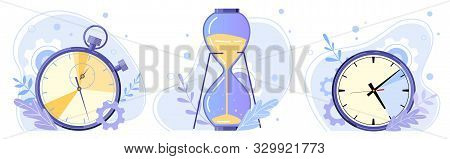 Clock, Hourglass And Stopwatch. Watch Hours, Timer Countdown And Sandglass Flat Vector Illustration