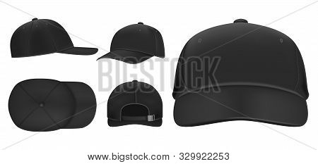 Black Cap Mockup. Sport Baseball Caps Template, Summer Hat With Visor And Uniform Hats Different Vie