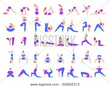 Yoga Asanas. Practice In Yoga Poses, Young People Train Balance, Meditate And Relax At Yoga Class Ve