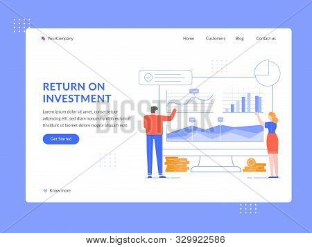 Return On Investment. Roi Analytics, People Analyze Financial Strategy And Income Growth Graphs Land