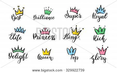 Crown Hand Drawn Lettering. Queen Crown Icons, Calligraphy Tiara And Colorful Diadem Vector Illustra
