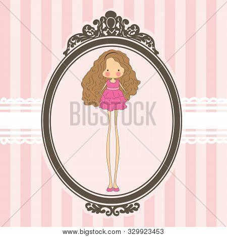 Quirky Girl Character And Old Fashion Mirror Frame, Pink Vector Background
