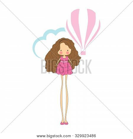 Quirky Girl Character With Blue Cloud And Hot Air Balloon In Behind