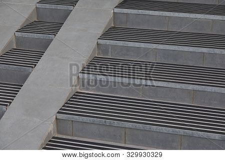 Beton Stairs With Stair Nosing, Rubber Crumb Covering And Entrance Slip Road