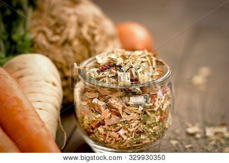 Dry, Dried Root Vegetable - Small Pieces Of Dried Vegetables In Jar , Dry Celery, Dry Ccarrot, Dry P