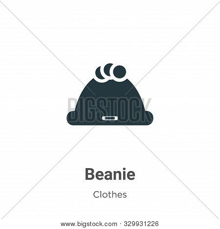 Beanie Vector Icon On White Background. Flat Vector Beanie Icon Symbol Sign From Modern Clothes Coll