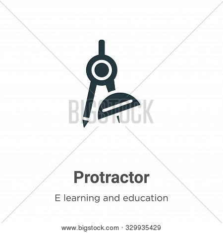 Protractor icon isolated on white background from e learning and education collection. Protractor ic