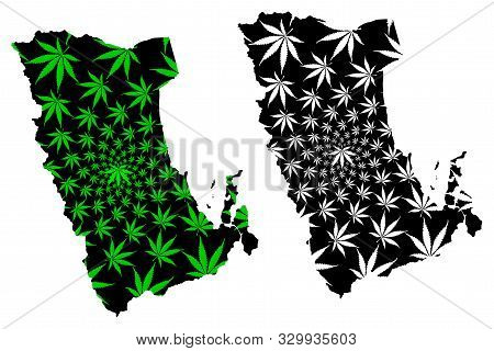 Phatthalung Province (kingdom Of Thailand, Siam, Provinces Of Thailand) Map Is Designed Cannabis Lea