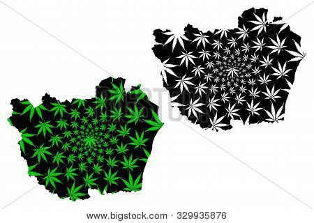 Phetchaburi Province (kingdom Of Thailand, Siam, Provinces Of Thailand) Map Is Designed Cannabis Lea