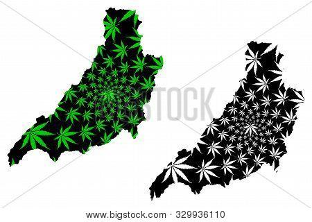 Phrae Province (kingdom Of Thailand, Siam, Provinces Of Thailand) Map Is Designed Cannabis Leaf Gree