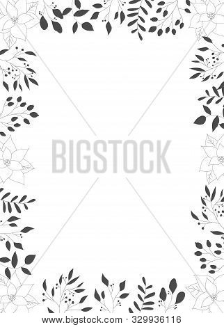 Frame With Black Hand Drawn Christmas New Year Winter Doodle Icons Leaves Berry Holly Jolly Isolated