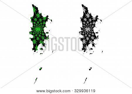 Phuket Province (kingdom Of Thailand, Siam, Provinces Of Thailand) Map Is Designed Cannabis Leaf Gre