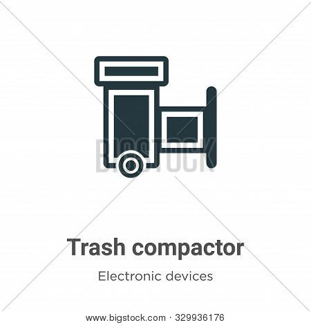 Trash Compactor Vector Icon On White Background. Flat Vector Trash Compactor Icon Symbol Sign From M