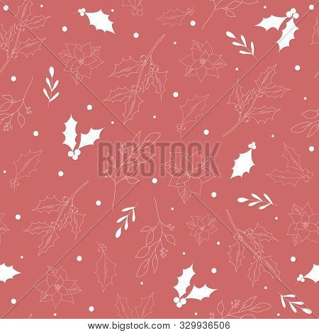 Seamless Pattern With White Hand Drawn Christmas New Year Winter Doodle Icons Leaves Berry Holly Jol
