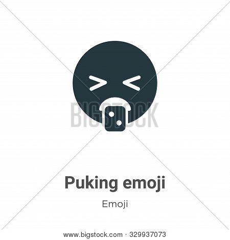Puking emoji icon isolated on white background from emoji collection. Puking emoji icon trendy and m