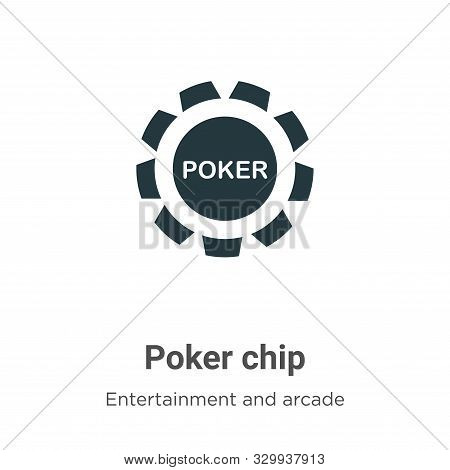 Poker chip icon isolated on white background from entertainment and arcade collection. Poker chip ic