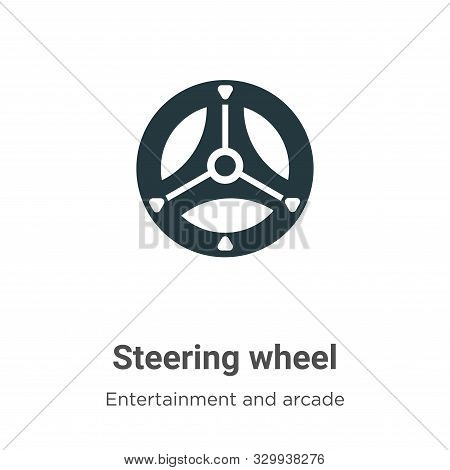 Steering wheel icon isolated on white background from entertainment and arcade collection. Steering