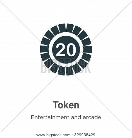 Token icon isolated on white background from entertainment and arcade collection. Token icon trendy