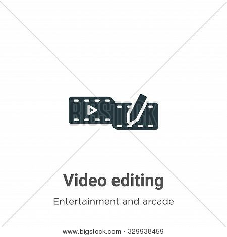 Video editing icon isolated on white background from entertainment and arcade collection. Video edit