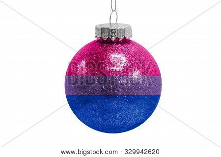 Glass Christmas Ball Toy Isolated On White Background With The Flag Of Bisexual
