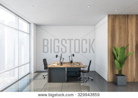 Interior Of Stylish Office With White And Wooden Walls, Tiled Floor And Windows With Cityscape. Mode