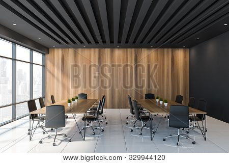 Black And Wooden Meeting Room Interior