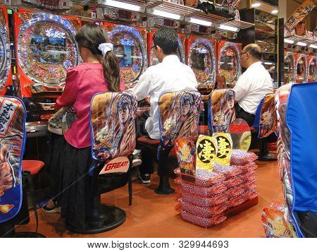 Tokyo, Japan, September,14, 2014 : A Pachinko Parlor In Tokyo. People Play Pachinko, The Traditional